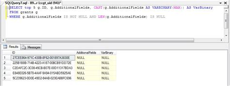 Why is IS NOT NULL returning NULL values for a Varchar(max