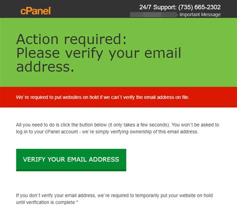cPanel won't send you messages asking you to verify your