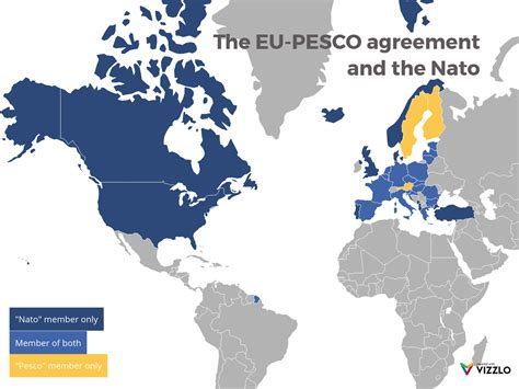 The EU-PESCO agreement and the Nato (World Map example